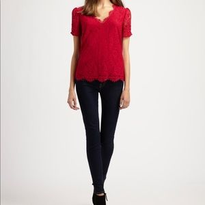Joie Red Brianda Lace Top Red V-Neck
